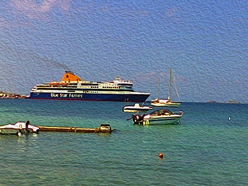 Blue Star leaving Paros