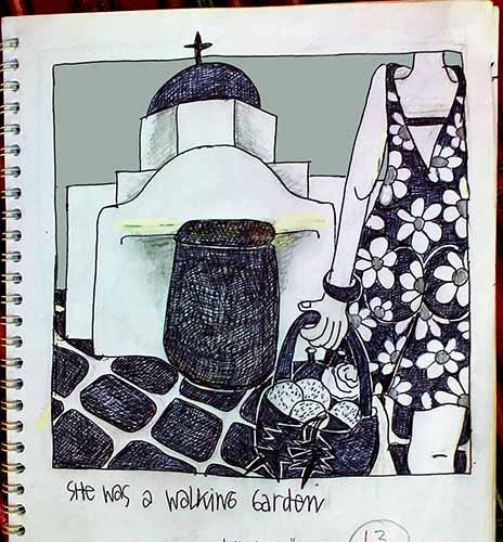 """""""She was a walking garden"""", drawing by Cynthia Korzekwa"""
