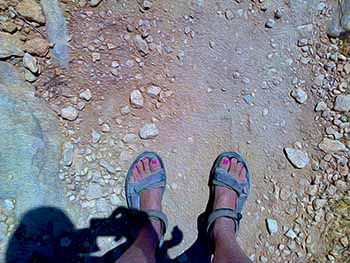 Velcro sandals on Paros