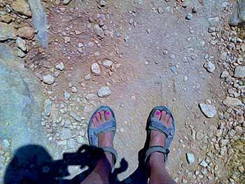 Velcro sandals on Paros