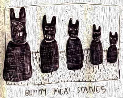 Bunny Moai statues