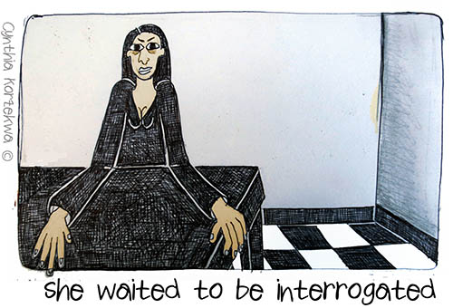 she waited to be innterrogated
