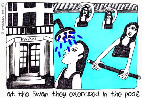 at the Swan they exercized in the pool