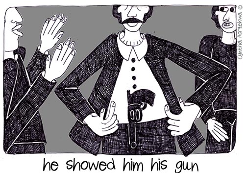 he showed him his gun
