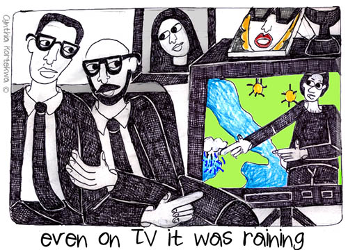 even on TV it was raining