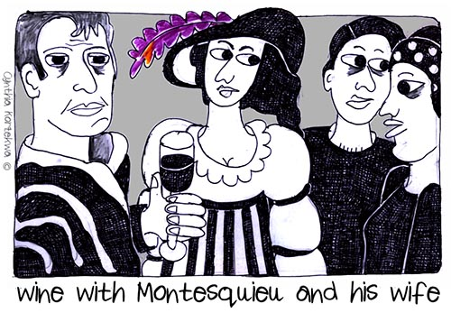 wine with Montesquieu and his wife