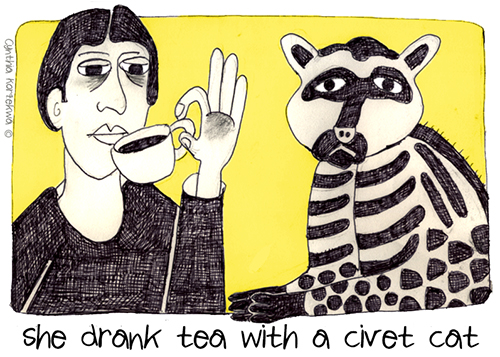 she drank tea with a civet cat