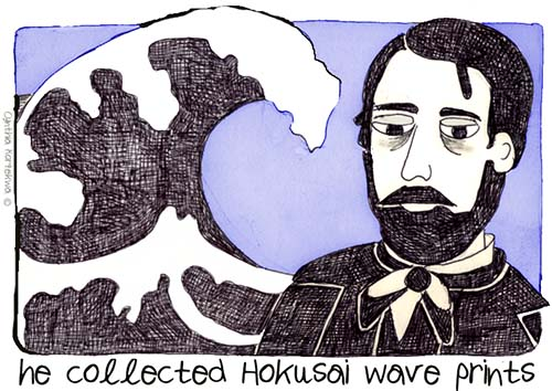 he collected Hokusai wave prints